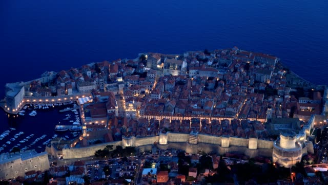 dubrovnik port and city(high angle-sunset to night) - eastern european culture stock videos & royalty-free footage