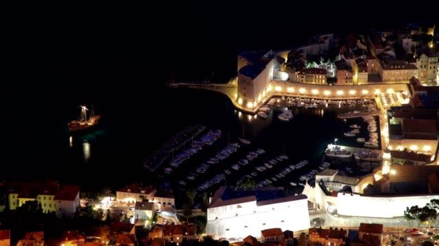 vidéos et rushes de dubrovnik port and city(high angle-night) - culture de l'europe de l'est