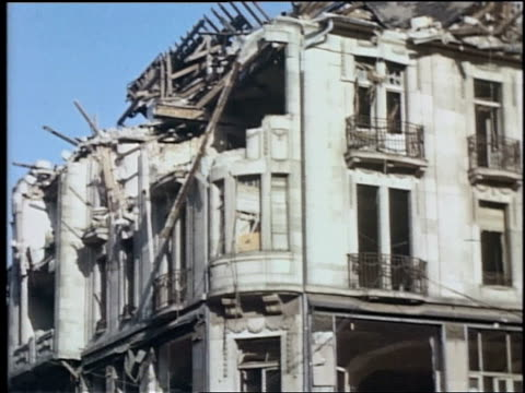 ducal palace damaged by bombing / wiesbaden, germany - postwar stock videos & royalty-free footage