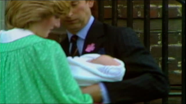Duchess of Cambridge admitted to hospital for the royal birth LIB Various shots young Princess Diana and Prince Charles from hospital with baby...
