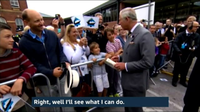 duchess of cambridge admitted to hospital for the royal birth; yorkshire: york: int prince charles, prince of wales along at national railway museum... - ヨーク公爵夫人点の映像素材/bロール