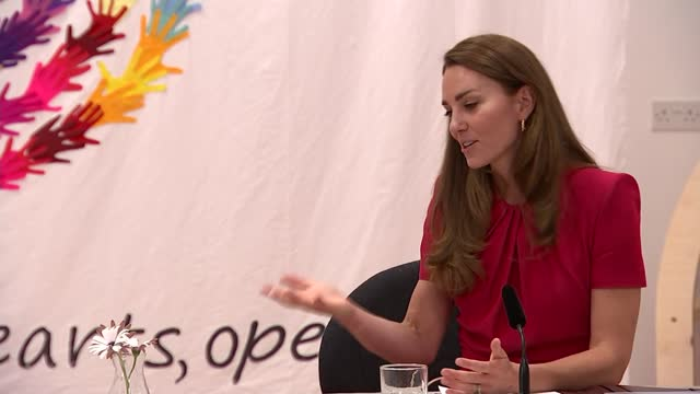 duchess of cambridge and jill biden visit primary school in cornwall; england: cornwall: hayle: connor downs academy: int catherine, duchess of... - talking stock videos & royalty-free footage