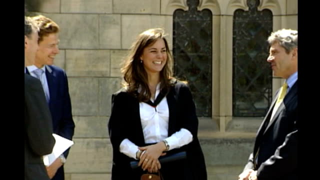 duchess of cambridge announces charity patronages; lib scotland: st andrews: ext kate middleton smiling and chatting on her graduation day - st. andrews scotland stock videos & royalty-free footage