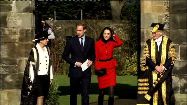 duchess of cambridge announces charity patronages t25021124 st andrews ext prince william and fiancee kate middleton visiting st andrews university... - fiancé stock videos and b-roll footage