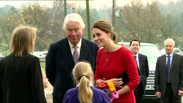 duchess of cambridge at launch of children's hospice; england: norfolk: norwich showground: ext catherine, duchess of cambridge out of car and waves... - イーストアングリア点の映像素材/bロール