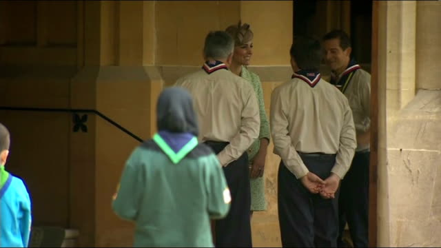 duchess of cambridge at scout parade england windsor castle ext catherine duchess of cambridge arriving and chatting to scouts / kate greeting cub... - cub scout stock videos and b-roll footage