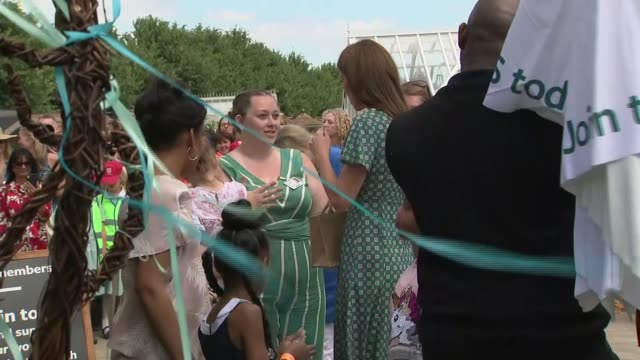 duchess of cambridge attends hampton court flower show england surrey hampton court palace ext catherine duchess of cambridge meeting adults and... - duchess stock videos and b-roll footage