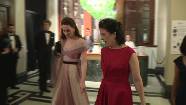 duchess of cambridge attends 'mentally healthy schools' arrival and speech at gala dinner at the v&a museum; england: london: victoria & albert... - gala stock videos & royalty-free footage
