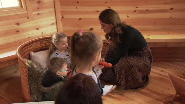 duchess of cambridge chats with children and guinea pigs at baby sensory class in cardiff as she launches a nationwide early years childhood survey... - childhood stock videos & royalty-free footage