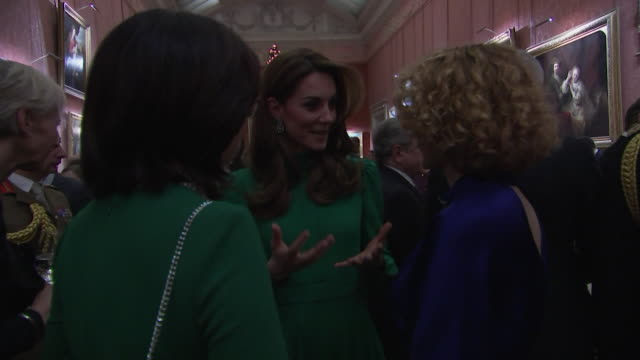 duchess of cambridge chatting with guests at buckingham palace reception during nato summit - cheerful stock videos & royalty-free footage