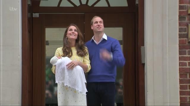 Duchess of Cambridge gives birth to baby boy CUTAWAY London Paddington EXT Prince William Duke of Cambridge and Catherine Duchess of Cambridge from...