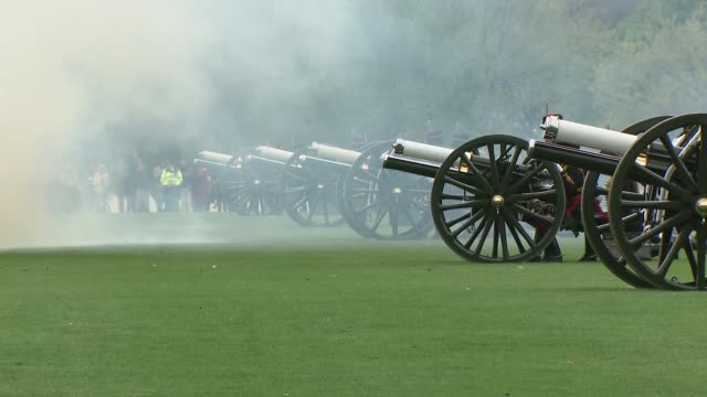 duchess of cambridge gives birth to baby boy gun salute at hyde park royal horse artillery firing gun salute in hyde park / artillery away - royal horse artillery stock videos and b-roll footage