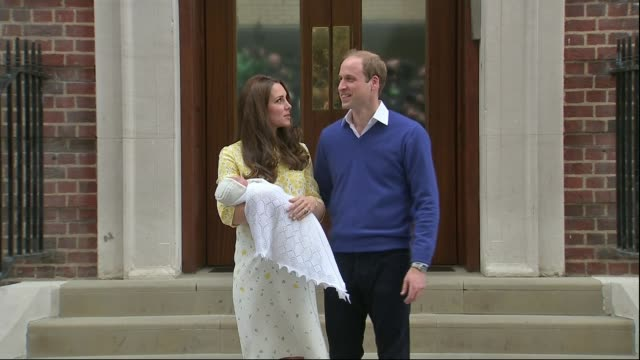 Duchess of Cambridge gives birth to baby boy LIB / High angle view Prince William Duke of Cambridge and Catherine Duchess of Cambridge holding...