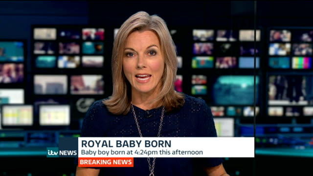 duchess of cambridge gives birth to boy: itv news special pab 20:30 - 21:56; paddington: st mary's hospital: tim ewart reporter to camera gir: int... - mary nightingale stock videos & royalty-free footage