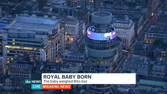 duchess of cambridge gives birth to boy: itv news special pab 20:30 - 21:56; london: ext / night **pollard interview partly overlaid sot** air view... - mary nightingale stock videos & royalty-free footage