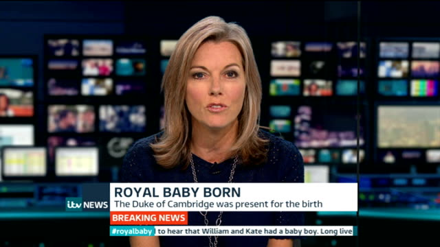 duchess of cambridge gives birth to boy: itv news special pab 20:30 - 21:56; vox pops nina nannar reporter to camera gir: int **scrolling graphic... - mary nightingale stock videos & royalty-free footage