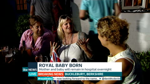duchess of cambridge gives birth to boy: itv news special pab 20:30 - 21:56; **vox pops overlaid sot** low angle view london eye lit up in red, white... - mary nightingale stock videos & royalty-free footage