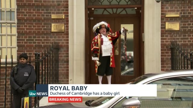 itv news special pab england london paddington st mary's hospital ext [begins abruptly start of pab missing] town crier making announcement sot oh... - it's a girl stock videos & royalty-free footage