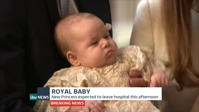 itv news special pab lib / st james's palace ext catherine duchess of cambridge and prince william duke of cambridge with baby prince george at his... - baptism stock videos & royalty-free footage