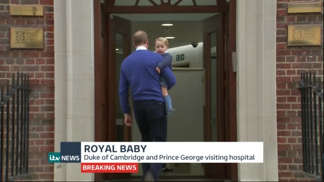 itv news special pab st mary's hospital ext various shots of prince william carrying prince george into hospital town crier making announcement sot... - it's a girl stock videos & royalty-free footage