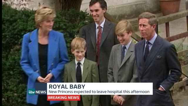 itv news special pab tx berkshire eton college prince charles prince william prince harry and princess diana standing together on prince william's... - eton berkshire stock videos and b-roll footage