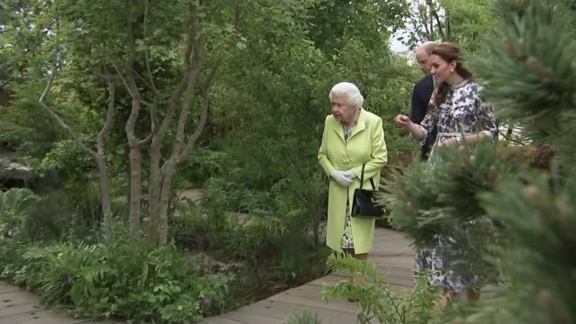 vídeos de stock e filmes b-roll de duchess of cambridge helps design garden for chelsea flower show; england: london: kensington & chelsea: chelsea: royal hospital chelsea: chelsea... - kensington e chelsea