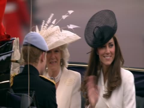 Duchess of Cambridge in a royal carriage with the Duchess of Cornwall and Prince Harry at the Trooping of the Colour