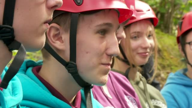 duchess of cambridge joins air cadets in mountain biking and abseiling during lake district visit; england: cumbria: little langdale: cathedral... - mountain biking stock videos & royalty-free footage
