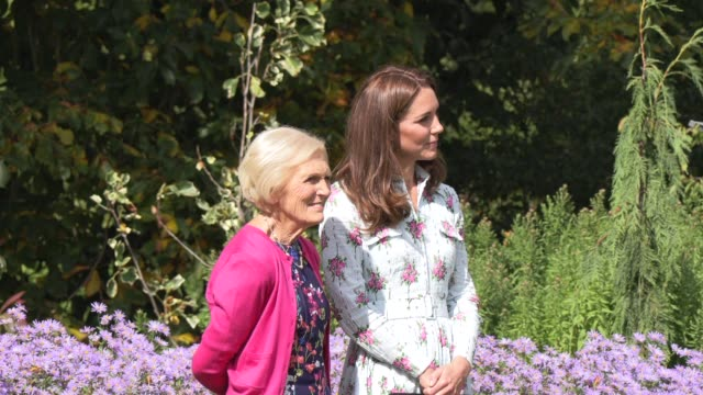 duchess of cambridge mary berry at rhs garden wisley on september 10 2019 in woking england - キャサリン妃点の映像素材/bロール