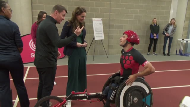 duchess of cambridge meets wheelchair athlete danny sidbury at sportsaid event at the london stadium in the olympic park stratford - disability stock videos & royalty-free footage