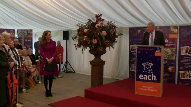duchess of cambridge opens nook children's hospice; england: norfolk: int marquee **beware flash photography** catherine, duchess of cambridge along... - east anglia stock videos & royalty-free footage