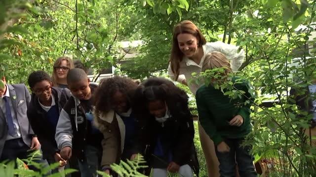 stockvideo's en b-roll-footage met duchess of cambridge shows schoolchildren around her back to nature garden at the chelsea flower show - chelsea bloemententoonstelling