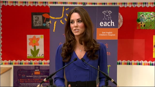 duchess of cambridge visit to the east anglia children's hospice catherine duchess of cambridge speech sot i'm only sorry that william can't be here... - east anglia stock videos and b-roll footage