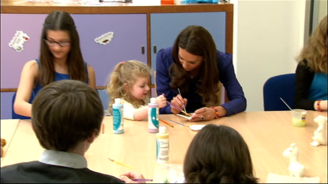 duchess of cambridge visit to the east anglia children's hospice ; england: suffolk: ipswich: int kate, duchess of cambridge, with children in... - east anglia stock videos & royalty-free footage