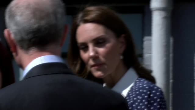 Duchess of Cambridge visits Bletchley Park ENGLAND Buckinghamshire Bletchley Park EXT Catherine Duchess of Cambridge from building and introduced to...