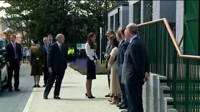 duchess of cambridge visits bletchley park tour england buckinghamshire milton keynes bletchley park ext camera operators and press / car arriving /... - blouse stock videos & royalty-free footage