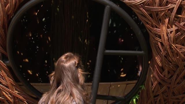 duchess of cambridge visits hampton court magic garden duchess of cambridge climbs ladder to chat to children in treehouse / duchess of cambridge... - treehouse stock videos & royalty-free footage