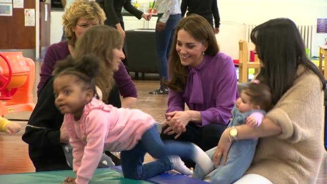 duchess of cambridge visits henry fawcett children's centre; england: london: kennington: henry fawcett children's centre: ext various of catherine,... - ランベス点の映像素材/bロール