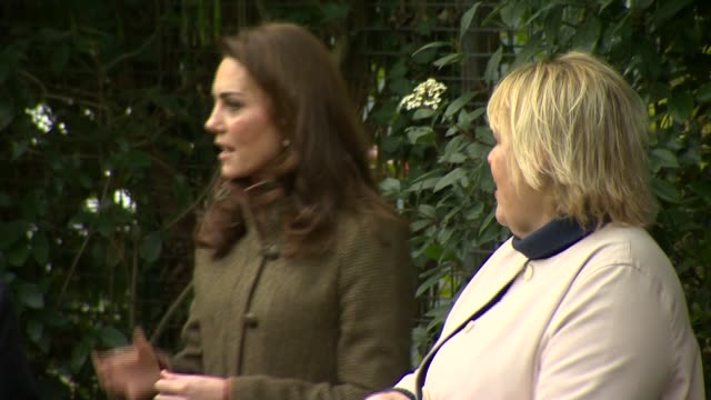 duchess of cambridge visits islington community garden; england: london: islington: islington community garden: ext catherine, duchess of cambridge... - islington stock videos & royalty-free footage