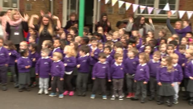 duchess of cambridge visits lavender primary school in enfield; england: london: enfield: lavender primary school : ext catherine, duchess of... - tights stock videos & royalty-free footage