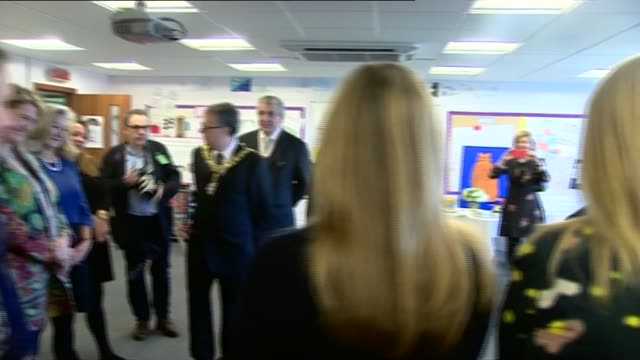 duchess of cambridge visits place2be schools; kate chatting with lineup of teachers in classroom / duchess towards along school corridor on visit and... - art class stock videos & royalty-free footage