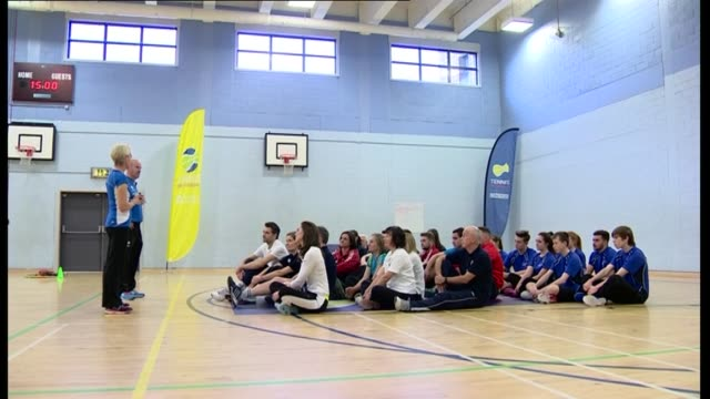 duchess of cambridge visits schools involved in place2be charity tennis event at edinburgh school int people waiting in gym / kate along in gym with... - tracksuit bottoms stock videos & royalty-free footage
