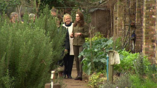duchess of cambridge walks through community garden during visit to king henry's walk garden in islington - community garden stock videos & royalty-free footage