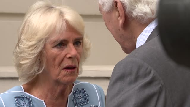 duchess of cornwall 70th birthday garden party drinks england london clarence house ext prince charles prince of wales chatting to author kathey... - camilla duchess of cornwall stock videos and b-roll footage