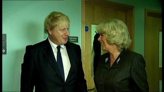 duchess of cornwall and boris johnson tour rape crisis centre in ilford; england: london: ilford: ext **beware flash photography** camilla, duchess... - ilford stock videos & royalty-free footage