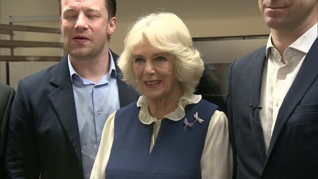 duchess of cornwall at great get together event; duchess of cornwall at great get together event; camilla, duchess of cornwall, posing with chefs... - jamie oliver stock videos & royalty-free footage
