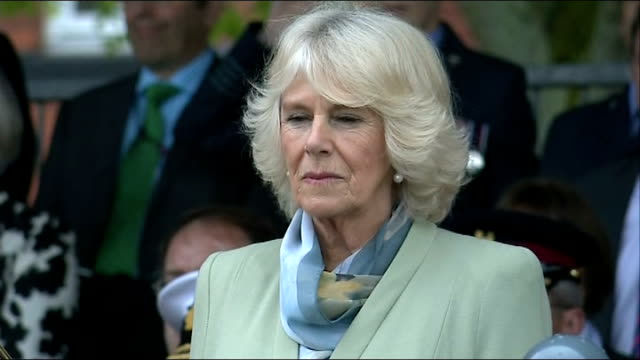 duchess of cornwall attends defence medical services relocation ceremony in lichfield camilla duchess of cornwall and audience stand for national... - lichfield stock videos & royalty-free footage