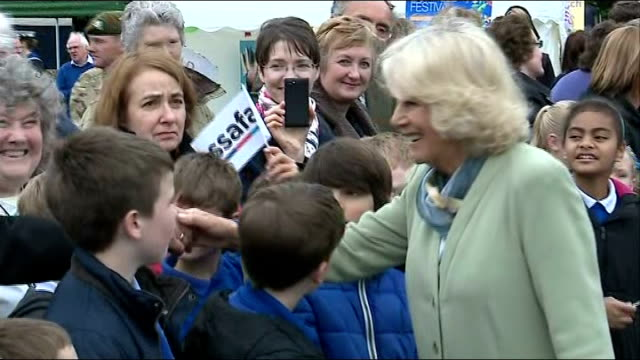 duchess of cornwall attends defence medical services relocation ceremony in lichfield camilla duchess of cornwall brief walkabout meeting spectators... - lichfield stock videos & royalty-free footage