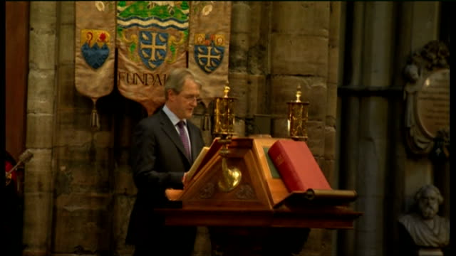 Duchess of Cornwall attends Harvest Festival service at Westminster Abbey Owen Paterson MP reading lesson SOT