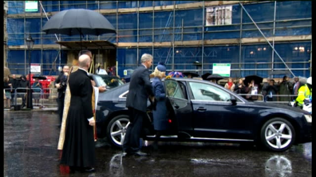 duchess of cornwall attends harvest festival service at westminster abbey; duchess of cornwall into car / horses and cart driven away - harvest festival stock videos & royalty-free footage